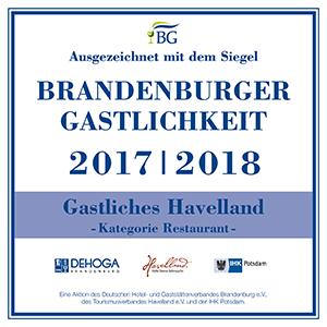 Hotel Baggernpuhl in Nauen, Zertifikat Brandenburger Gastfreundlichkeit